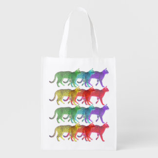 Colorful Cat Crowd Grocery Bag
