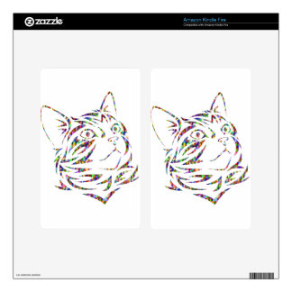 colorful cat decal for kindle fire