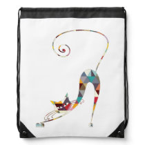COLORFUL  CAT DRAWSTRING BACKPACK