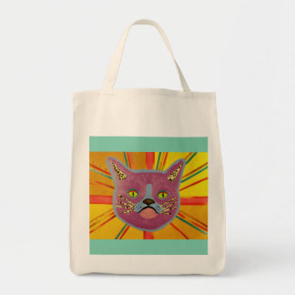 Colorful Cat Grocery Tote Bag