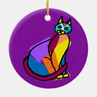 Colorful Cat Hero Ceramic Ornament