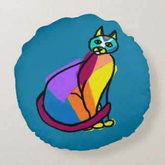 Colorful Cat Hero Round Pillow
