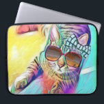 "Colorful Cat Neoprene Laptop Sleeve 15 inch<br><div class=""desc"">A colorful cat,  designed by Bella,  for all cat lovers!</div>"