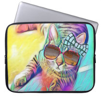 Colorful Cat Neoprene Laptop Sleeve 15 inch
