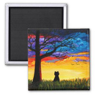 Colorful Cat Oak Tree Landscape Creationarts Magnet