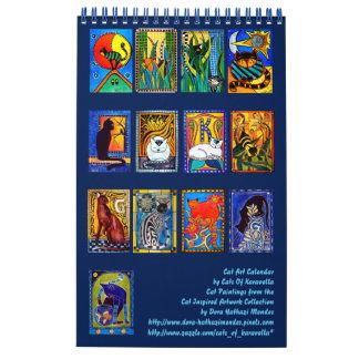 Colorful Cat Paintings Calendar 2018