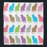 """Colorful cat pattern bandana<br><div class=""""desc"""">Colorful rows of cats pattern bandana</div>"""