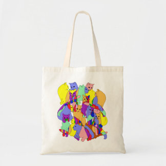 Colorful Cat Pattern Budget Tote Bag