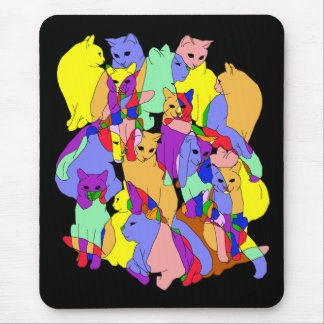 Colorful Cat Pattern Mouse Pad