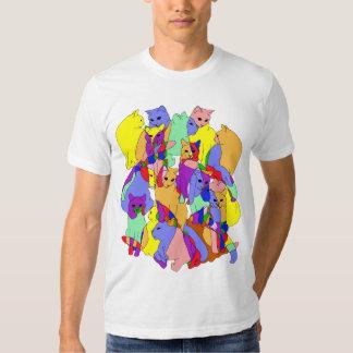 Colorful Cat Pattern T Shirt