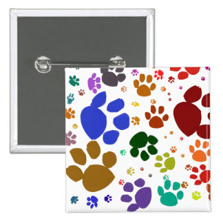 colorful cat paws button