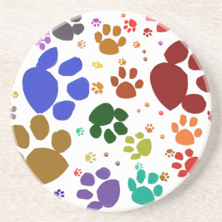 colorful cat paws drink coaster