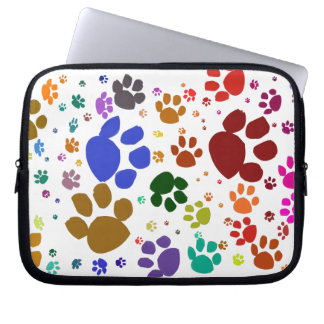 colorful cat paws laptop sleeve