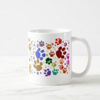 colorful cat paws mug