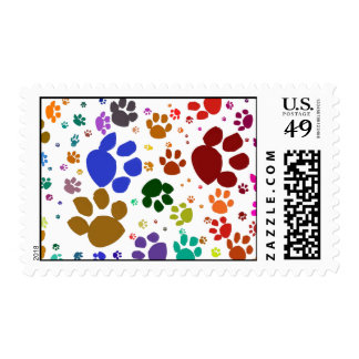 colorful cat paws postage stamps