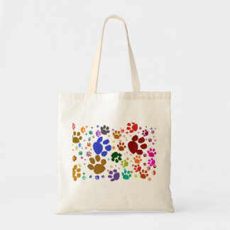 colorful cat paws tote bag