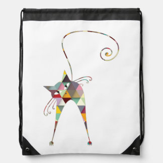 COLORFUL  CAT CINCH BAGS