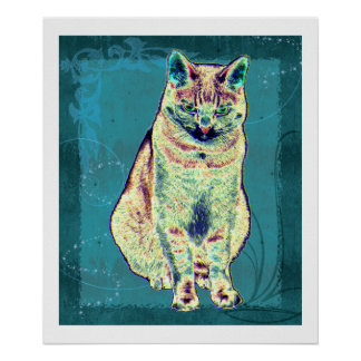 Colorful Cat Poster