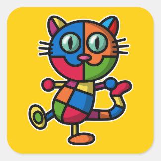 colorful cat square sticker