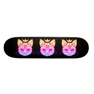 Colorful cat sugar skull skateboard deck