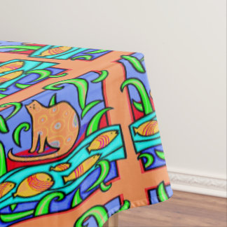 COLORFUL CAT WATCHING FISH ART PRINT TABLE CLOTH