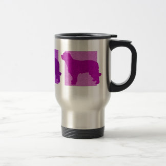Colorful Catalan Sheepdog Silhouettes Travel Mug