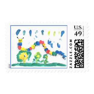 Colorful Caterpillar Postage Stamp