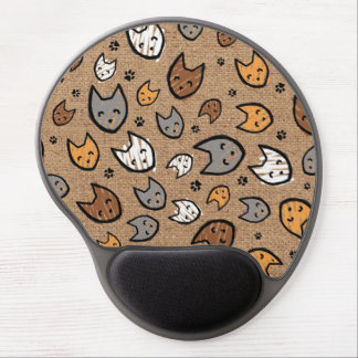 Colorful Cats and Paws Pattern on Burlap Gel Mouse Pad