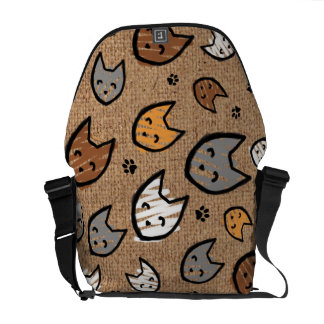 Colorful Cats and Paws Pattern on Faux Burlap Messenger Bag