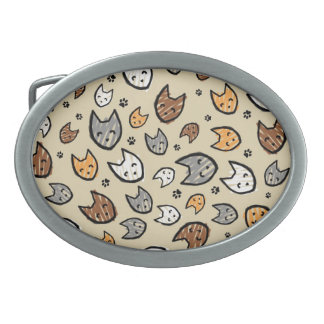 Colorful Cats and Paws Pattern on Tan Belt Buckle