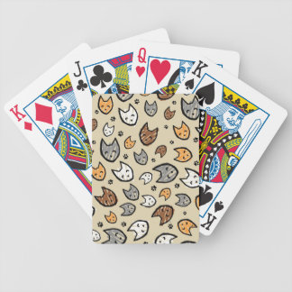 Colorful Cats and Paws Pattern on Tan Bicycle Playing Cards