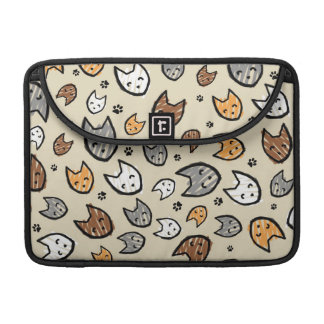 Colorful Cats and Paws Pattern on Tan Sleeves For MacBook Pro