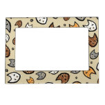 Colorful Cats and Paws Pattern on Tan Magnetic Picture Frames