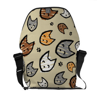 Colorful Cats and Paws Pattern on Tan Messenger Bags