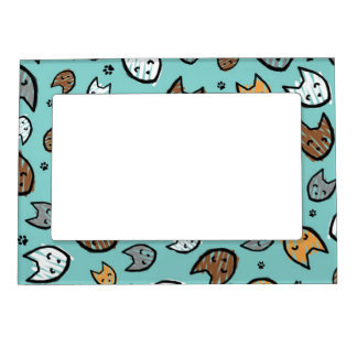 Colorful Cats and Paws Pattern on Teal Magnetic Photo Frames