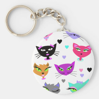 Colorful Cats Basic Round Button Keychain