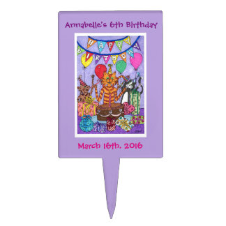 Colorful Cats Birthday Party Cake Topper