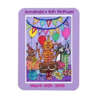 Colorful Cats Birthday Party Magnet
