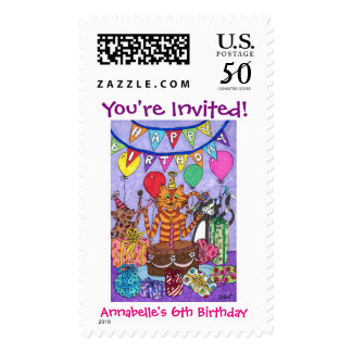 Colorful Cats Birthday Party Postage