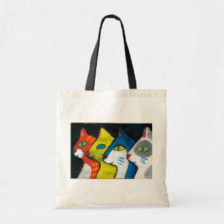 colorful cats drawn in profile canvas bags