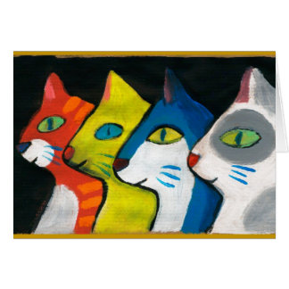 colorful cats drawn in profile card