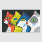 colorful cats drawn in profile rectangular sticker