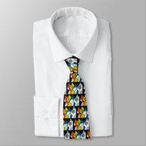 colorful cats drawn in profile tie