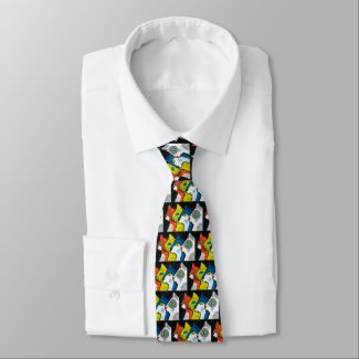 colorful cats drawn in profile tie