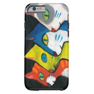 colorful cats drawn in profile tough iPhone 6 case