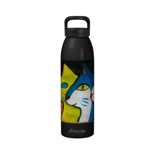 colorful cats drawn in profile reusable water bottle
