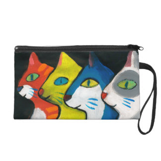 colorful cats drawn in profile wristlet