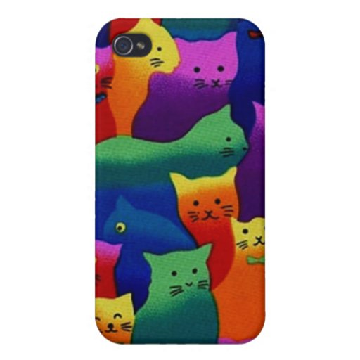 Colorful Cats Cases For iPhone 4