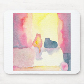 Colorful Cats on a Sunny Sofa Mouse Pad