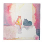 Colorful Cats on a Sunny Sofa Small Square Tile